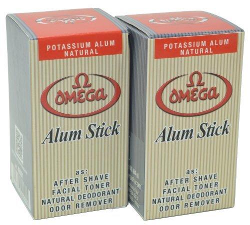 Omega Potassium Alum Stick Natural Aftershave and Toner Pack of 2 by Omega