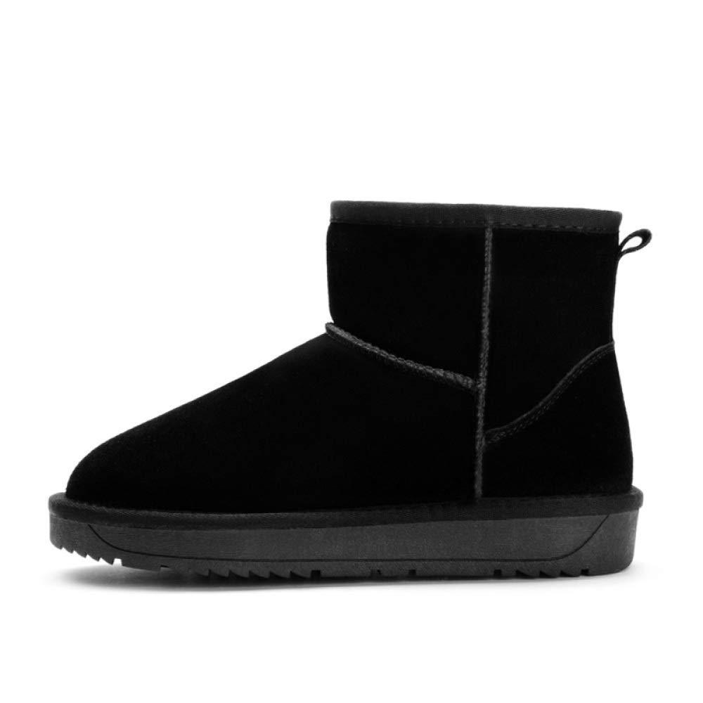 YongBe Frauen Schnee Plüsch Stiefel Kurze Stiefel Leder Warmen Plüsch Schnee Verdicken Slip Flache Ferse Für Den Winter F 6e6e19