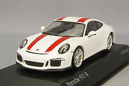 Minichamps - Maqueta de Porsche 911/991 R - 2016 - Escala 1/43, 410066220, blanco bandas rojo: Amazon.es: Juguetes y juegos