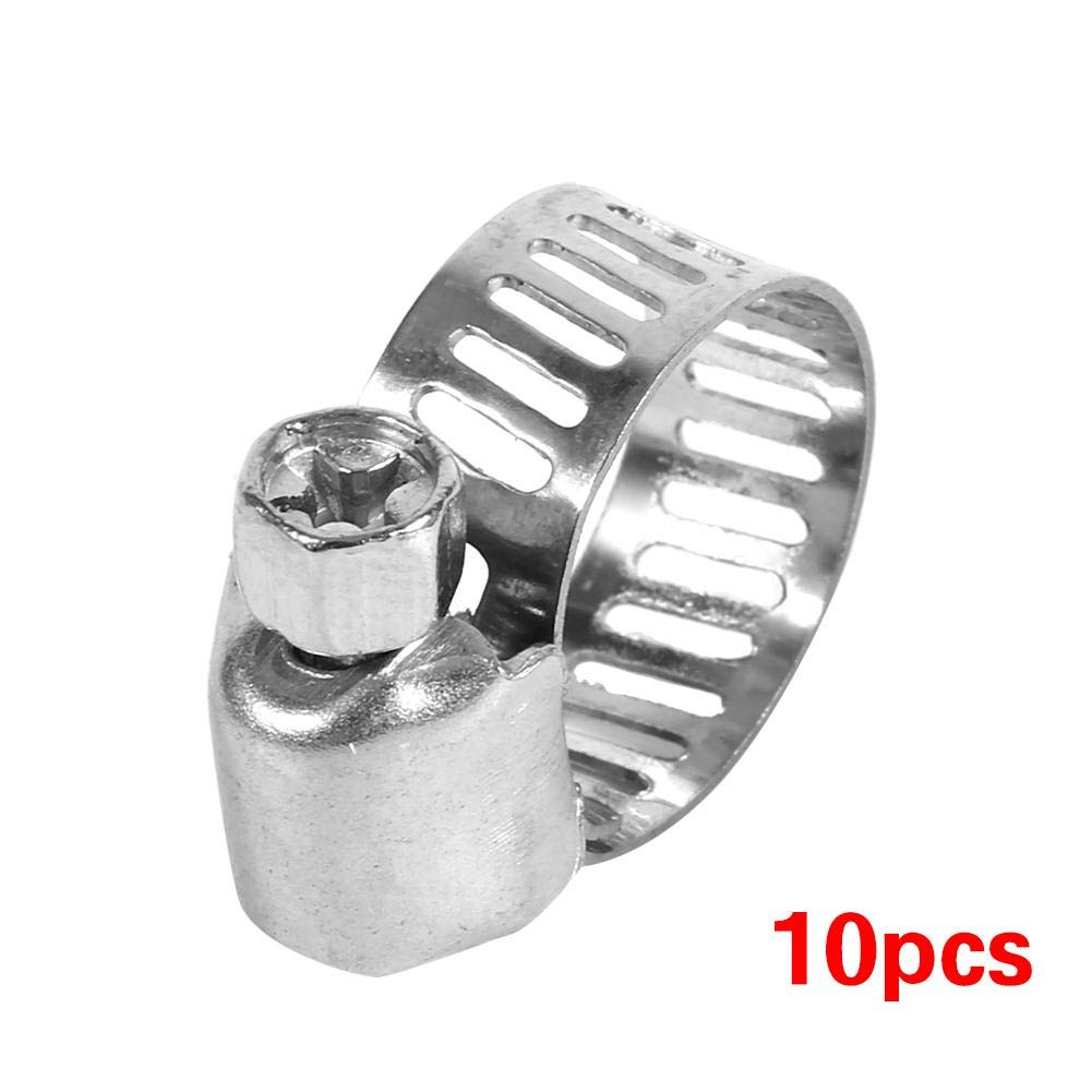 Aramox Hose Clamps,10 Pcs Adjustable Stainless Steel Drive Hose Clamps Fuel Line Worm Clips 3//8-1//2