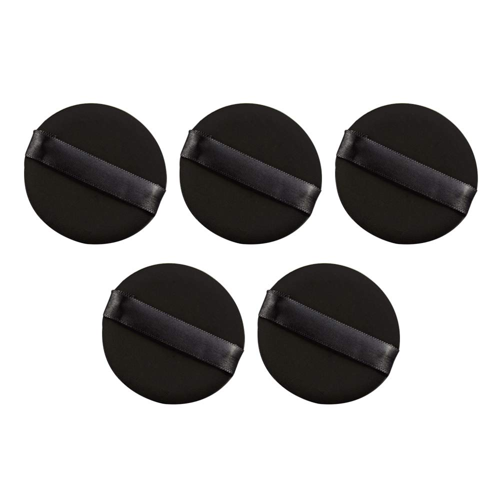 Frcolor 5pcs Air in Puff Air Cushion BB Cream Rubycell Puffs Round Non-latex Bouncy Soft Makeup Sponges Blenders Puffs for Face Foundation Powder (Black)