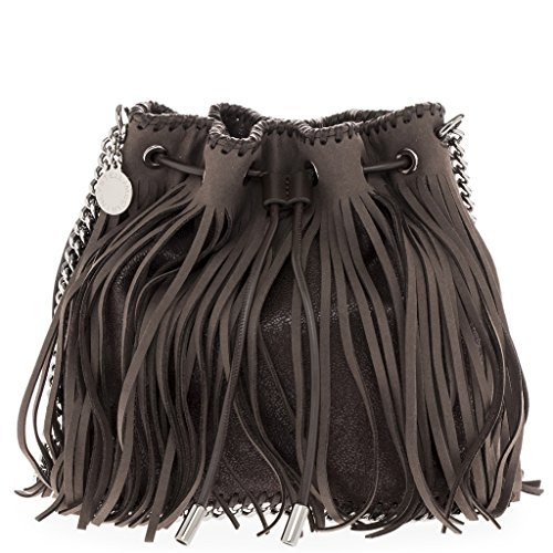 Stella-McCartney-Womens-Fringed-Falabella-Bucket-Bag-with-Chain-Strap-Dark-Grey-Brown