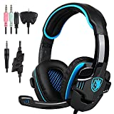 New Updated PS4 Gaming Headphones,SADES SA708GT 3.5mm Jack Stereo Over Ear Computer Gaming Headset with Microphone for PC/Laptop/Mac/Ipod(Black and Blue) from Smart@Purchase Shop