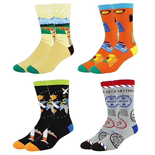 Men's 4 Pack Funny Fun Crew Cotton Socks Plane Map Patterned Crazy - Off Sunglasses 80