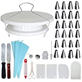Homeries 39-Piece Cake Decorating Supplies Kit - Turntable with Decorating Combs/Icing Smoothers + 2 Stainless Steel Icing Spatulas + 24 Icing Tips + Pastry Bags + Flower Pins + Cake Leveler. - Best
