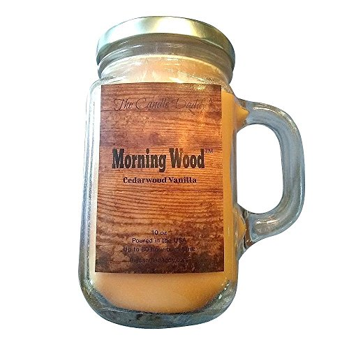 MORNING WOOD- Cedarwood Vanilla Scent Candle- 10 oz - 80 hour burn - Perfect Funny Gift - Poured in small batches in USA by The Candle Daddy (Image #1)