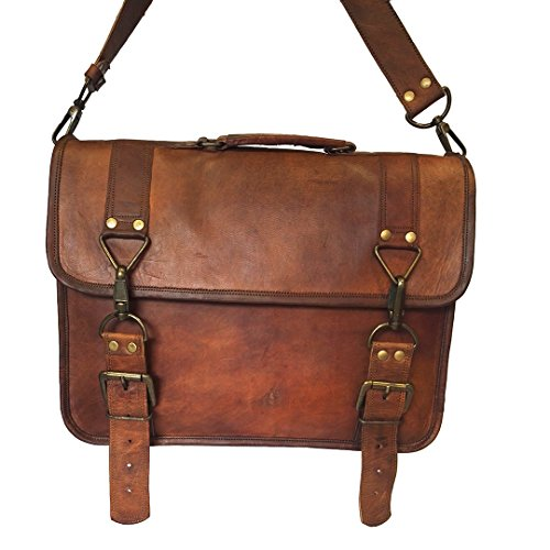 Business Brown Office Goat Men's Messenger Bag Laptop Handbag Leather Vintage Shoulder w0qzp46