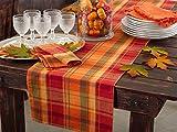 Harvest Plaid Design Cotton Terracotta Table Runner (16