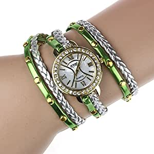 Tonsee Bling Weave Leather Bracelet Lady Womans Wrist Watch (Green)