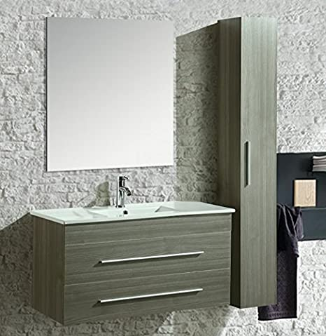 Mobile Arredo Bagno Urban 100 cm Sospeso Moderno Grigio: Amazon.it ...