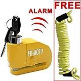 FD-MOTO - Dispositivos Antirrobo Candado de Disco con Alarma Antirrobo Acero 7mm 110DB Amarillo con Cable Enrollado de 1,4M para Moto Motocicleta