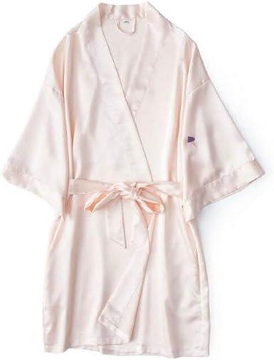 Bata De Baño para Mujer De Verano Color Ropa Sólido Camisa Bordada con Cuello En V 3 4 con Cinturón Albornoz (Color Champagne M) (Color : Champagne, Size : M): Amazon.es: Ropa y accesorios
