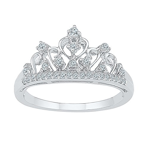 Jewels By Lux 10k White Gold Round Diamond Womens Womens Crown Tiara Cocktail Band 1/5 Cttw Ring Size 7