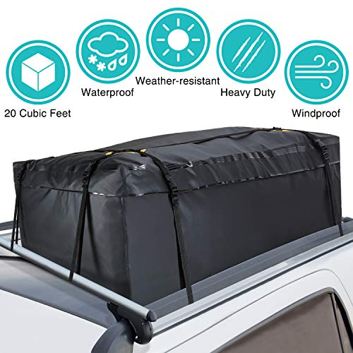 (MODOKIT 100% Waterproof Car Cargo Roof Bag Roof Top Cargo Bag for Vehicles with Rack Crossbars, Heavy Duty Roof Cargo Bag (20 Cubic Feet))