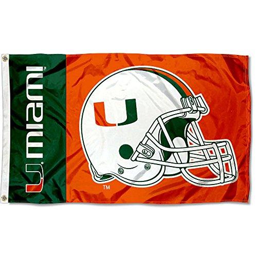 University of Miami Helmet Flag Large 3x5 (Miami Hurricanes Merchandise)