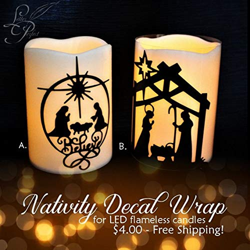 (Nativity Decal Wrap for LED Flameless Pillar Candle)