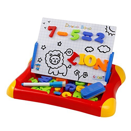 Magnetic Drawing Board Games Dry Erase Board Plastic Travel Doodle Sketch Board 2 in 1 with Letters Numbers Symbol Sketchpad Educational Toy for Kids,Random Color