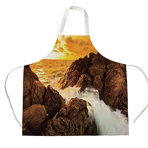 iPrint Cotton Linen Apron,Two Side Pocket,Seaside Decor,Sunset and Waves Over Tropical Wild Rocks on The Beach Heaven Nature Summer Calm Print,Orange Grey,for Cooking Baking Gardening ()