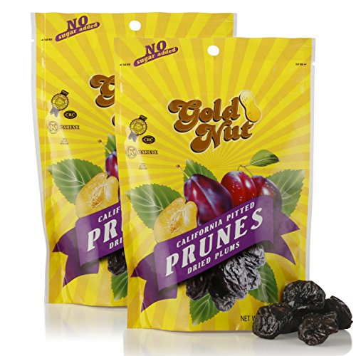 California Pitted Prunes - Dried Plums No Sugar Added, Fat Free, All Natural Snack - Resalable Bag - 8oz - Kosher - by Gold Nut (2 Pack - 16oz)