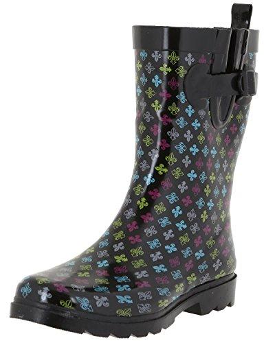 Capelli New York Ladies Fleur De LYS Printed Rain Boots Multi Combo 8