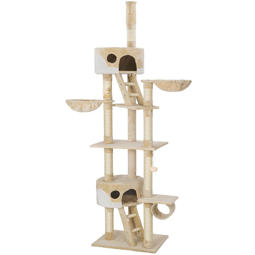 Beige-White   No. 401639 TecTake Cat scratcher activity center cat tree ceiling high 2.40-2.60m beige white