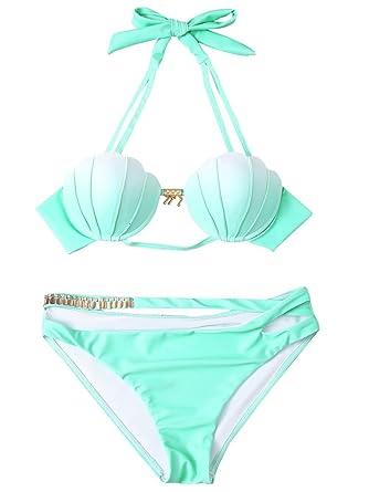 e6025d51cf403 Pxmoda Women's Gradient Color Seashell Bikini Set Padded Mermaid Swimsuit  (S, Green)