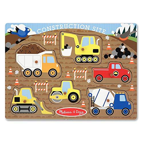 Melissa & Doug Construction Site Vehicles Wooden Peg Puzzle (6 pcs)