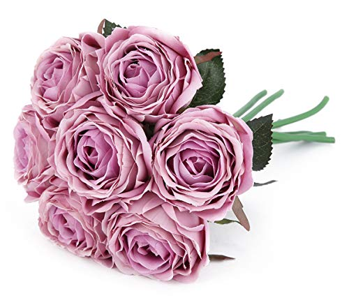 Blooming Paradise Artificial Flowers Rose Silk Fake Flowers Leaf Bouquet Home Floral Wedding Garden Decor 7 Flower Heads Pink Lilac from Blooming Paradise