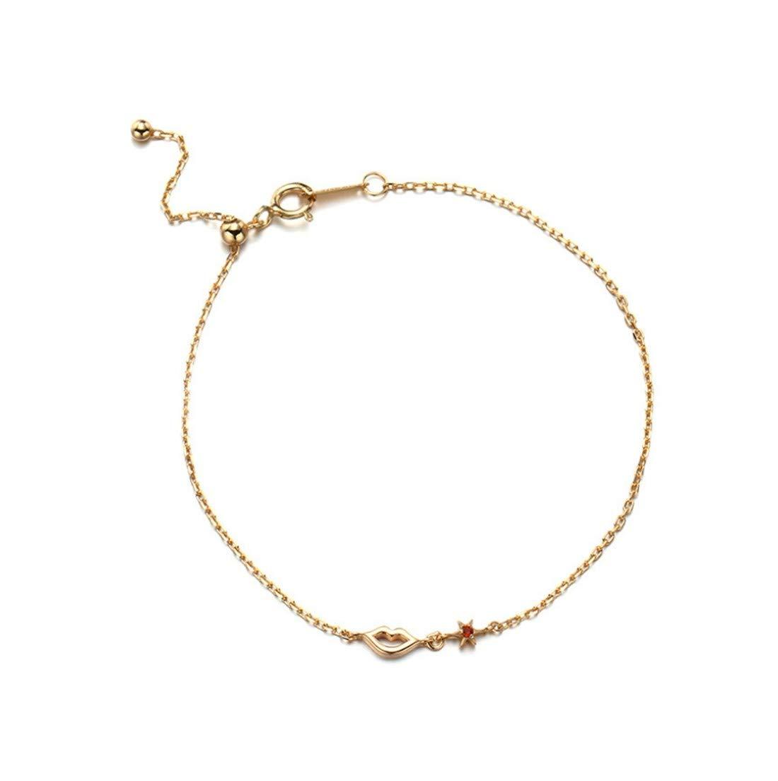 YIYIYAレディースブレスレットS925スターリングシルバー繊細な甘い唇の形調節可能な結婚式の宝石類レディースジュエリーの贈り物   B07M59FY42