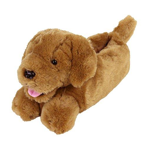 - Golden Retriever Slippers - Plush Dog Animal Slippers Brown
