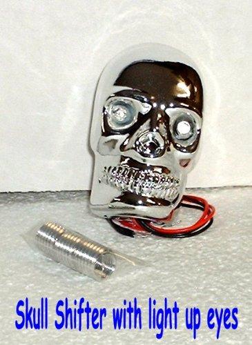 Chrome Skull Shift Knob with Light Up Eyes -