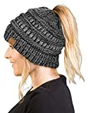 BT-6800-816.21 Messy Bun Womens Winter Knit Hat Beanie Tail - Grey/Black#31