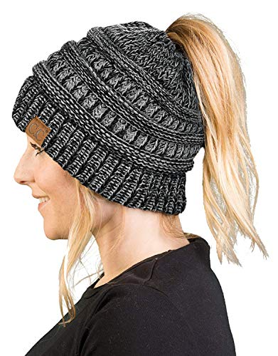 BT680081621 Messy Bun Womens Winter Knit Hat Beanie Tail  Grey/Black#31