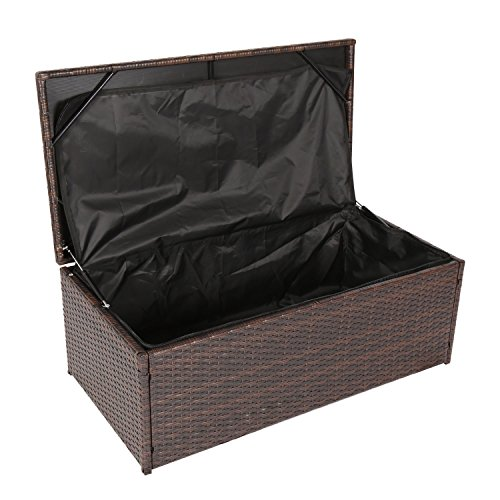 Kinbor Outdoor Wicker Storage Bins Patio Rattan Deck Box Garden Porch Furniture Set,Brown