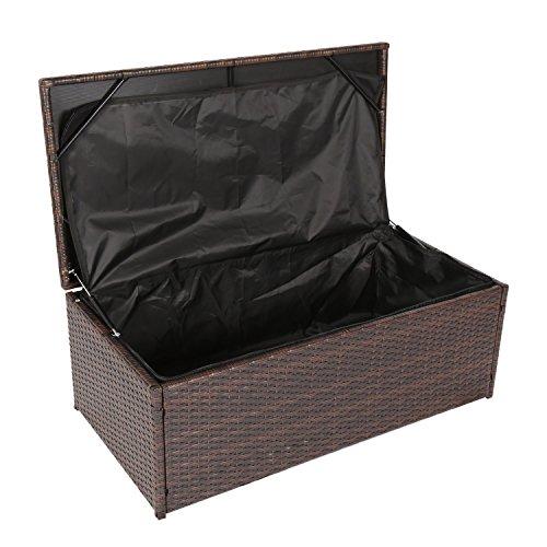 Kinbor Outdoor Wicker Storage Bins Patio Rattan Deck Box Garden Porch Furniture Set,Brown (Rattan Keter Storage)