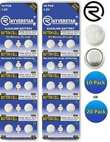Rayverstar LR44 AG13 1.55 Volt Alkaline (20-Batteries) Fits: A76, GPA76, L1154F, L1154, 357A, 157, 303, 357, SR44, SR44SW, EPX76, PX76, PX76A, Hexbug, (Full List Below)