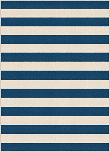 Rectangle Navy Rug (Florence Stripe Navy Rectangle Easy-Care Indoor/Outdoor Area Rug, 5' x 7')