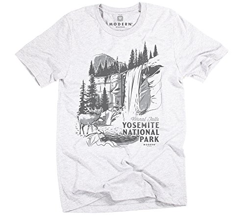 Superluxe Clothing Mens Vintage 60s Style California Vernal Falls Yosemite National Park Unisex Tri-Blend Summer Camping Hiking T-Shirt, White Fleck Triblend, Large (Best National Park Roadtrip)