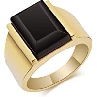 UMtrade Mens Stainless Steel Simulated Agate Signet Ring Gold Black