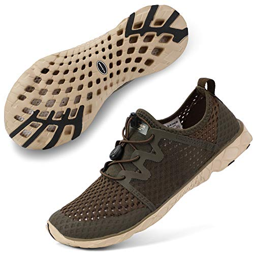 ALEADER Womens Athletic Water Shoes for Outdoor, River Hiking, Wet Walking Khaki 8.5 B(M) US