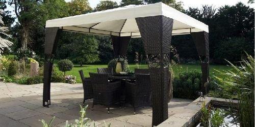 Madrid 3m X Rattan Gazebo Set Complete With Canopy Amazoncouk Kitchen Home