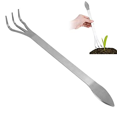 Stainless Steel Root Rake 3-Prong Loosen Soil Bonsai Tree Tools with Ergonomic Handle for Outdoor : Garden & Outdoor