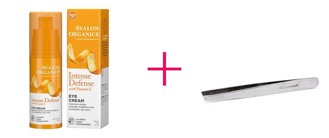 Avalon Organics Vitamin C Renewal Revitalizing Eye Cream (2pc AND e.l.f. professional Perfect Tweezers - BUNDLE)