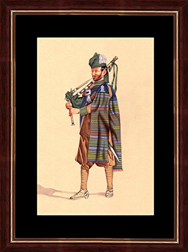 Splendid Indian Company Period Soldier '1st Madras Lancer's Bagpiper 1887' Indian Miniature Painting on Handmade Paper with Natural Colours