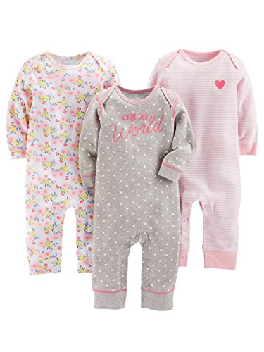 Simple Joys by Carter's Baby Girls' 3-Pack Jumpsuits, Gray, Pink Stripe, Floral, 6-9 Months