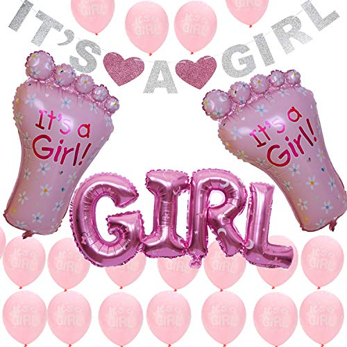 Its A Girl Banner Balloons Set Pink for Baby Shower Party Supplies Sign]()