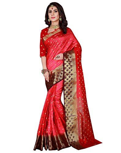Viva N Diva Women's Shaded Red Color Banarasi Art Silk Saree with Unstitched Blouse Piece.