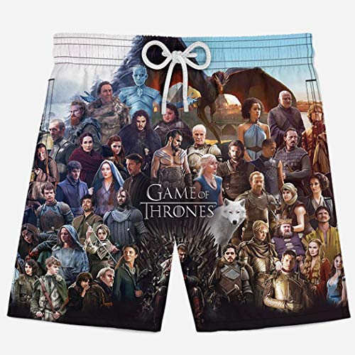 Game of Thrones Season 8 Cast Youth Girls 3D Quick Dry Breathable Swim Trunk Surf Beach Shorts Board Shorts with Pocket Drawstring