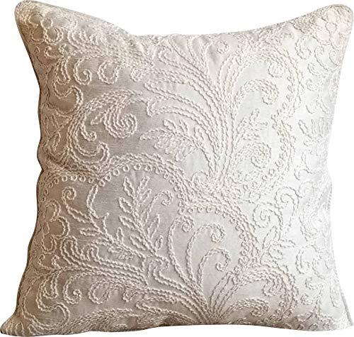 The HomeCentric Funda de Almohada Decorativa marrón Seda Blanca con Bordado Seda 35 x 35 cm marrón, Funda de cojín Hecha a Mano Seda Jacquard - Pure ...