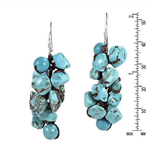 Cluster Simulated Turquoise Drop Sterling Silver Dangle Earrings by AeraVida (Image #2)